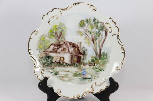 ANTIQUE HAND PAINTED PLATE SIGNED W/ GOLD TRIM COUNTRY CABIN PASTORAL SCENE