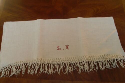 Antique Homespun Natural Flax Linen Monogramed LN  Large Bath Towel, Farmhouse 3