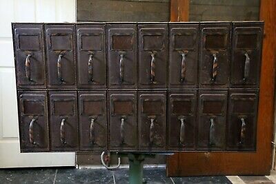 Vintage Industrial Filing Cabinet Japanned Copper Finish Handles Card Catalog