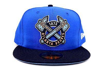Atlanta Braves Azure Blue Navy Orange Sky Blue MLB New Era 59Fifty Fitted Hat - Navy Orange Fitted Hats
