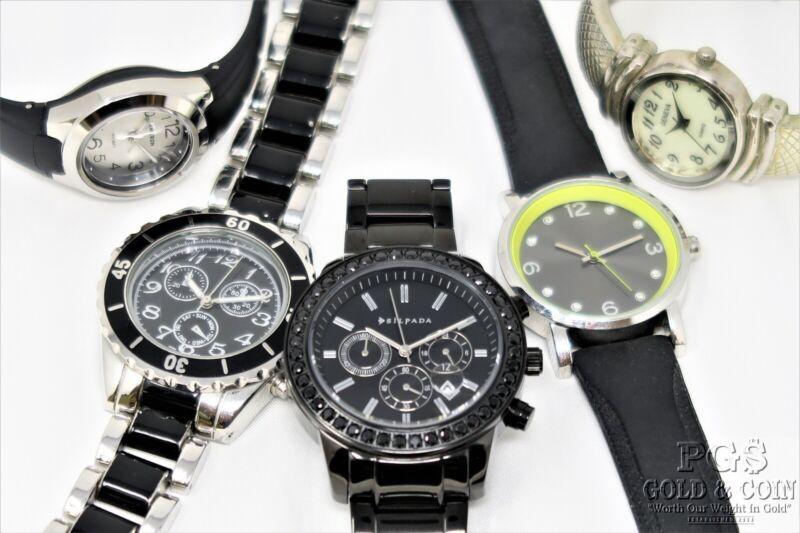 Silpada Black Ceramic Watch T3139 Armitron Geneva Silicone Band 5 Asst Pcs 20745