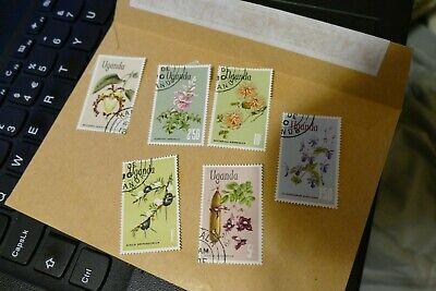 6 Uganda Africa used postage stamps, postal mail philately