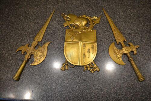 Vintage MCM Sexton Metal Coat of Arms Knight Swords Wall Art Hollywood Regency