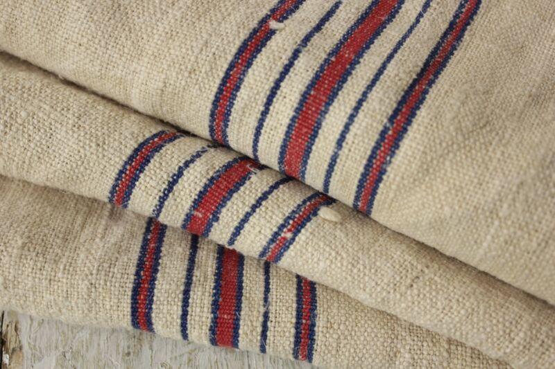 Vintage homespun grainsack fabric grain sack material 11.3YDS WASHED linen hemp