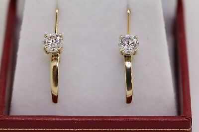 1CT 14k Yellow Gold Drop Leverback Earrings.