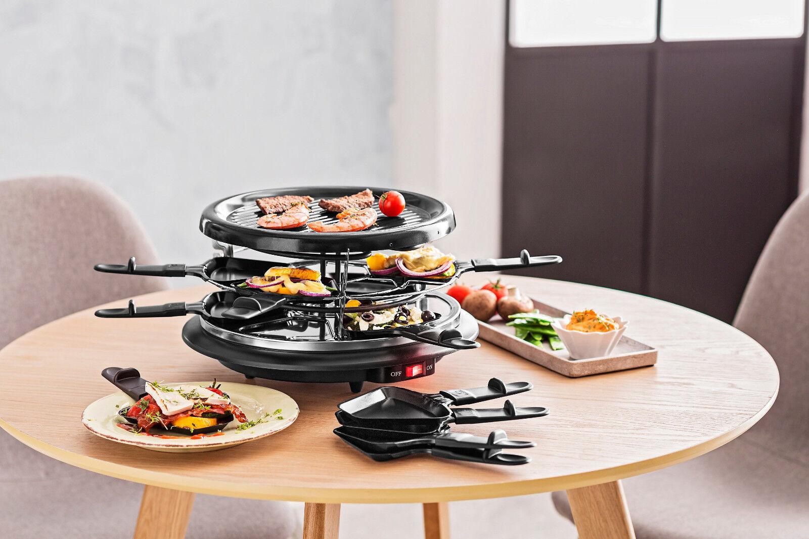 Raclette-Grill mit zwei Ebenen und Grillplatte Für bis zu 12 Personen