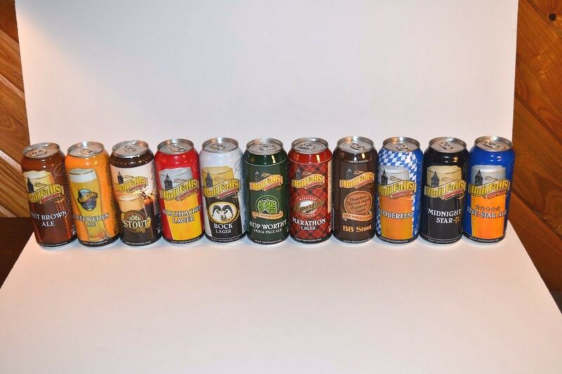 Bull Falls Brewery Wausau WI 11 Beer Can Full Production Line Bottom Opened