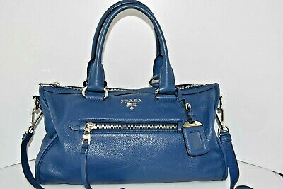 Prada Vitello Phenix Blue Leather Used 1BB022 Handbag