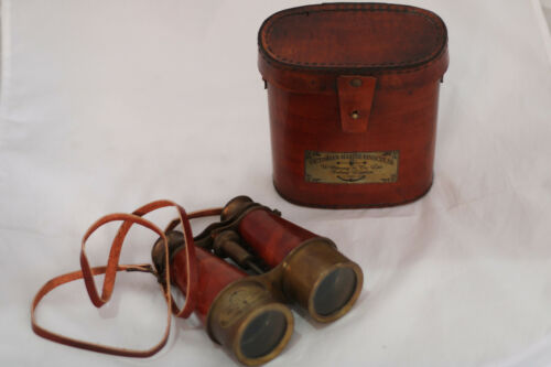 Antique Brass Binocular Cherry/Brown Color Victorian Marine 1915 with Leather Co