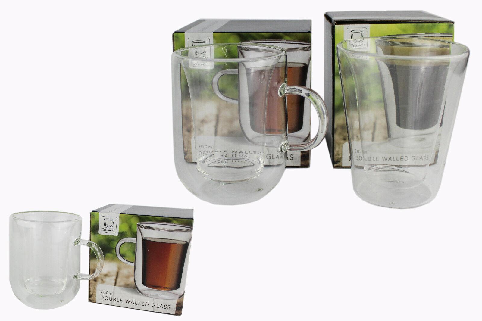 Doppelwandige Thermo Glas Trinkglas Wasser Cafe Tee glas mit Henkel 200 ml