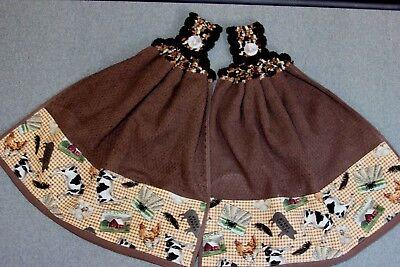 Double Hanging - Double Hand Crochet Hanging Kitchen Premium Heavy Towels - Buy Local