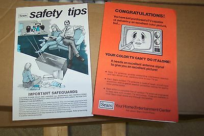 Vintage TV Instructions Sears TV Sales Papers for a New Color TV with antenna