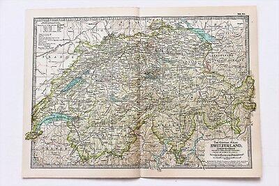 1906 Switzerland Map Liechtenstein Lake Geneva Railroad Routes ORIGINAL
