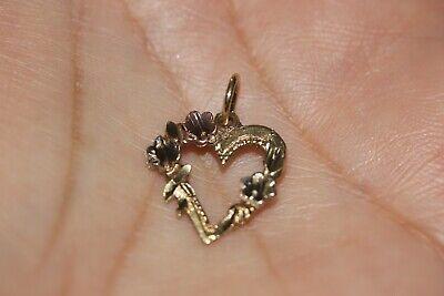 FINE 14K TRI-COLOR GOLD FLOWER OPEN HEART CHARM PENDANT FOR NECKLACE OR (14k Tri Color Charm Bracelet)
