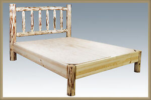 Log bed platform style queen beds amish made rustic cabin for Log cabin style bunk beds
