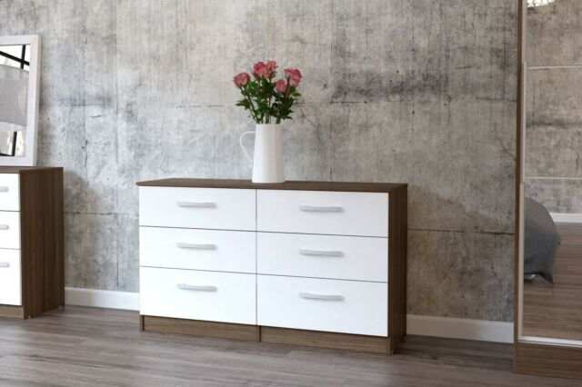 Lynx Quality High Gloss Bedroom Furniture Sets Walnut  White