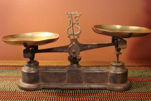 Antique Rare French Force 1/2 Kilo Scale Vintage Brass Pans Scales Kilogram