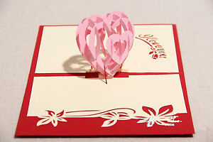 Origami Handcrafted 3D Valentine's Day Card - I love you - 3 designs