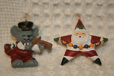 "Christmas Miniature 1"" Ornaments Plastic Star Santa and Fiddling Mouse set of 2"