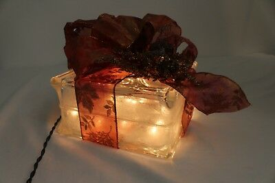 Christmas Present Lighted Glass Block Tabletop Centerpiece Decoration 7.5