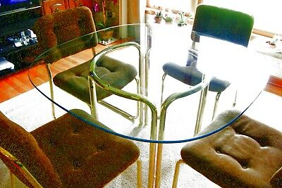 "Vintage 47"" Round, Glass Tubular Dining Room Set, 1980's PICK UP ONLY"