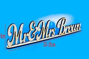Personalised Mr & Mrs + Custom Name MDF Wooden Standing Plaques Signs Wedding
