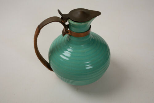 Bauer Pottery Vintage Ringware Pitcher (O4L) Green w/Copper Handle Water Carafe