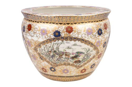 """Beautiful Oriental Porcelain Floral Motif Fish Bowl 13"""" Diameter"""