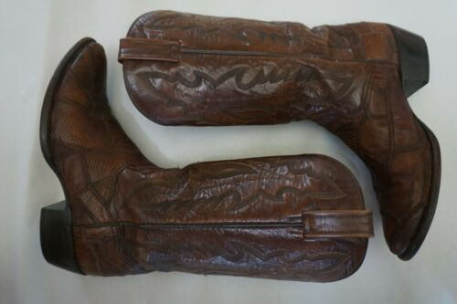 DAN POST Brown Patchwork Lizard Skin Cowboy Western Boots Men