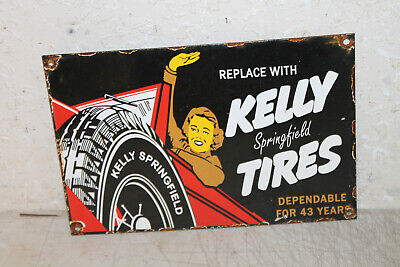 KELLY SPRINGFIELD TIRES Vintage Style Porcelain Signs Gas Pump Man Cave Station
