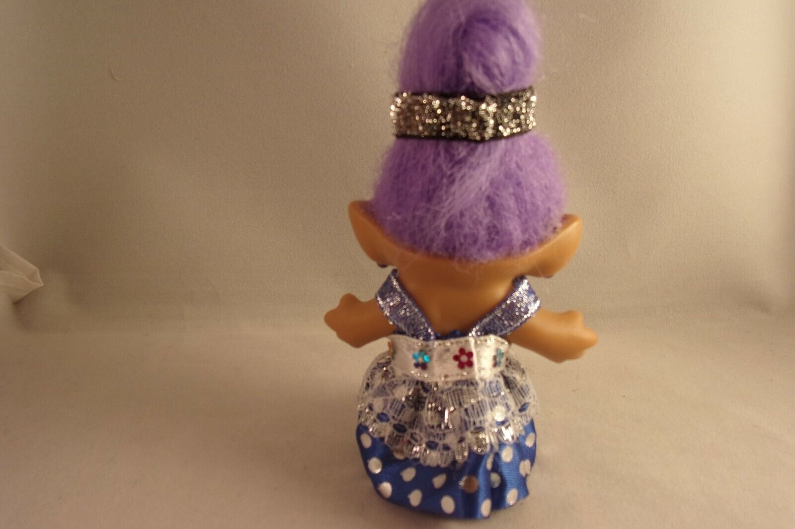 Troll Doll Clothes Evening Gown For 3 Vtg ACE, Russ Trolls In BLUE SILVER - $8.99