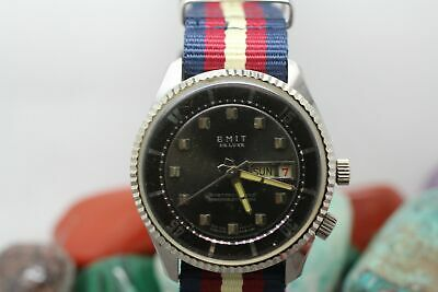 Vintage Emit Deluxe Day/Date Men's Wrist Watch For Parts/Repair