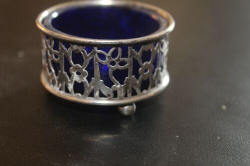 Gorham Pierced Sterling Silver Salt Cellar with Cobalt Blue Glass Insert 1906