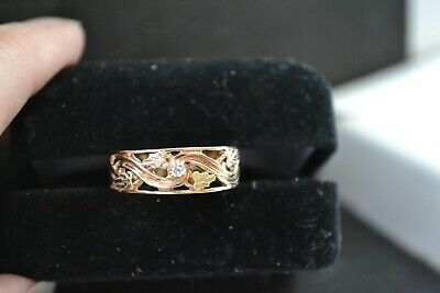 Black Hills Yellow Gold Band Ring with Diamond Accent 10K