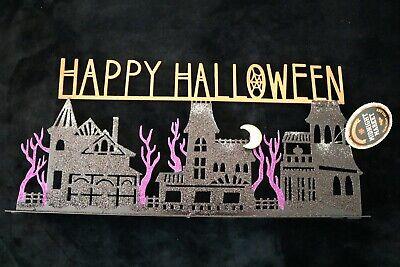 Tea Light Candle Holder HAPPY HALLOWEEN Glitter Spooky Street Black Metal NWT