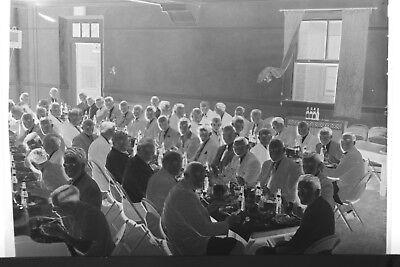 (2) B&W Press Photo Negative Suited Men Banquet Tables Formal Dinner T2335