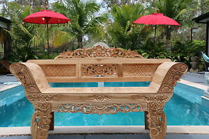NEW Beautifully Hand Carved TEAK Wood Balinese Day Bed - Carved Wood Bench Seat