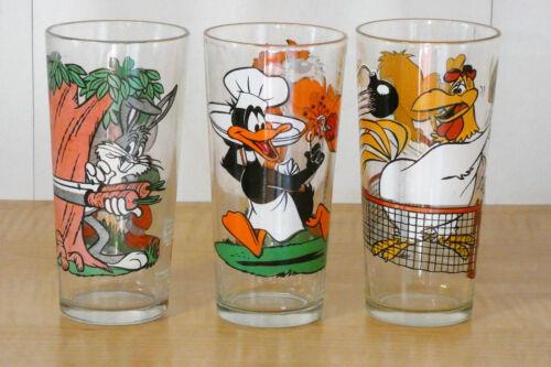 Lot of 3 Pepsi Looney Tunes Glasses-Bugs-Daffy-Tasmanian Devil-Foghorn
