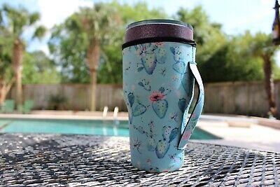 NEW 30oz. Neoprene Tumbler Koozie Beverage Coolers wSide Strap Cactus Succulent](Cactus Cooler Drink)