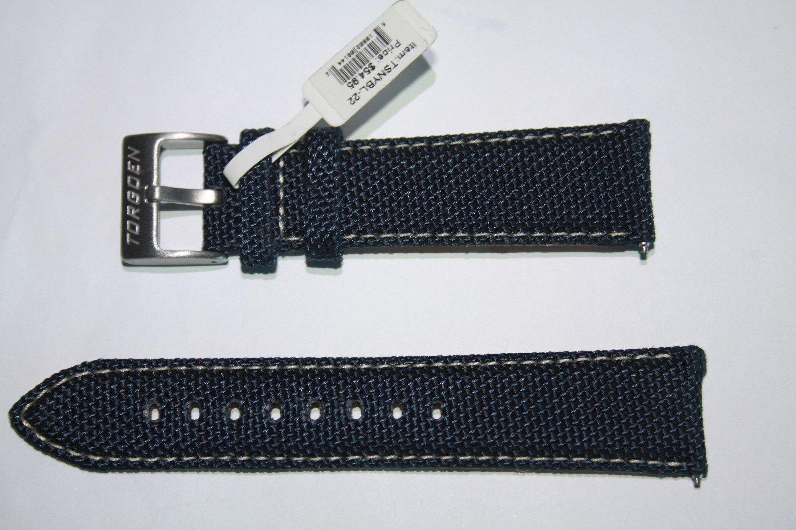 Original Torgoen Uhrnarmband Textil/Leder Blau 22 mm
