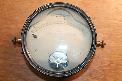 Vtg Retro Kelley-koett Large Display Ammeter Steam Punk Meter Amperes 0-5 A