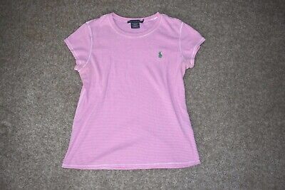 - Ralph Lauren S/ S Womens Pink White Striped T Shirt Tee Green Pony Size Large L