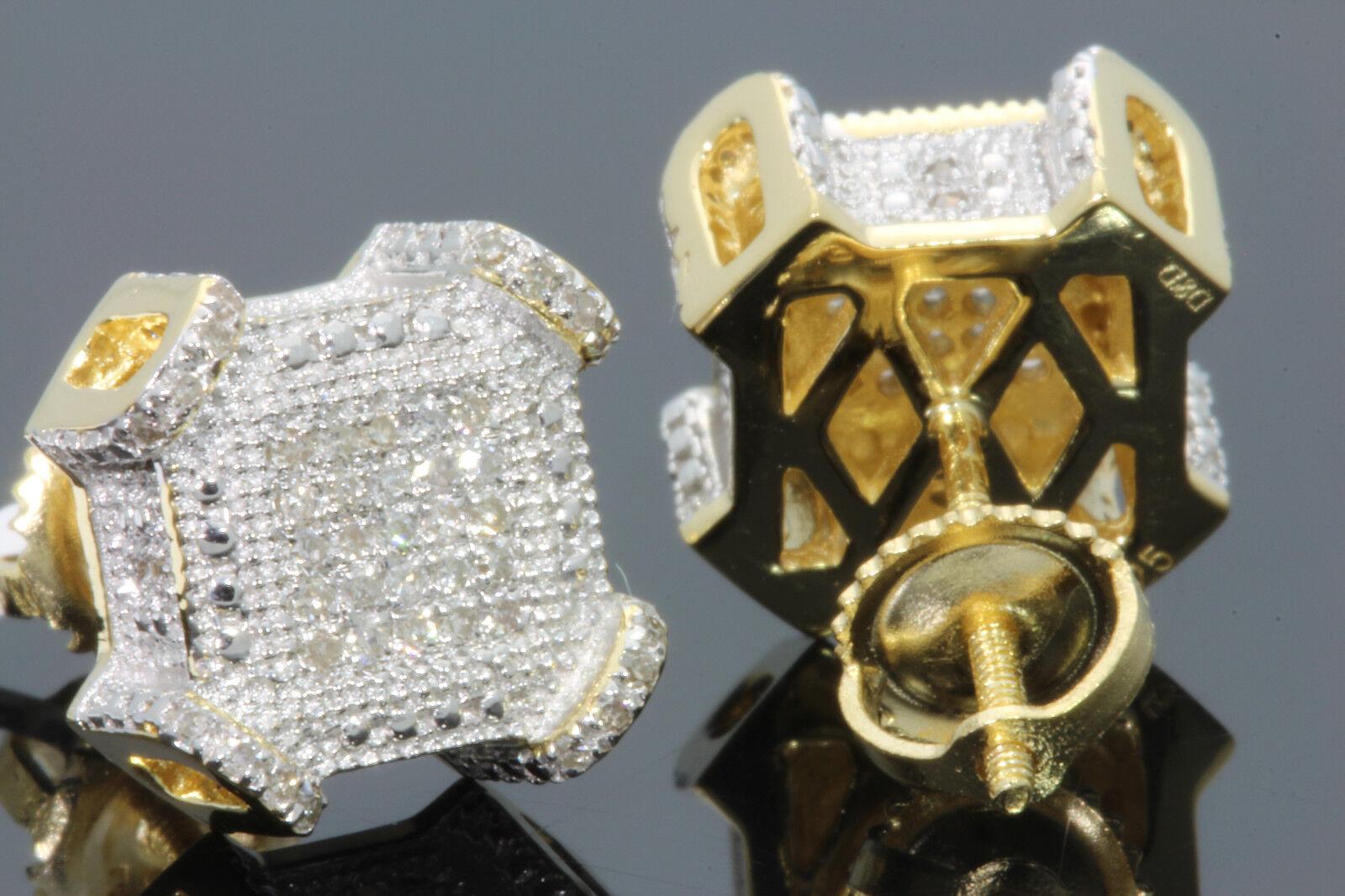 .29 CT STERLING SILVER GOLD FINISH MEN WOMEN 10 mm REAL DIAMONDS EARRINGS STUDS 2