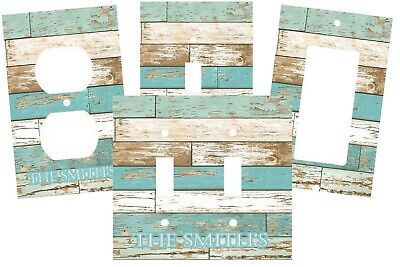 PERSONALIZED BEACH THEMED AGED WOOD LOOK LIGHT SWITCH PLATE COVER DECOR