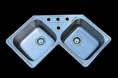 AS139 Amerisink 18G 2 Bowl Topmount Stainless Steel Corner Kitchen Sink 4 Hole ()
