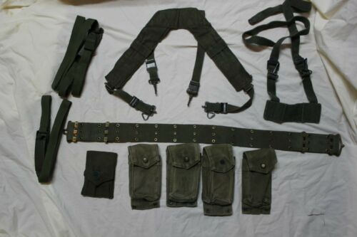 US Military Issue Vietnam Era Web Belt Set Canvas Magazine Pouches Suspenders