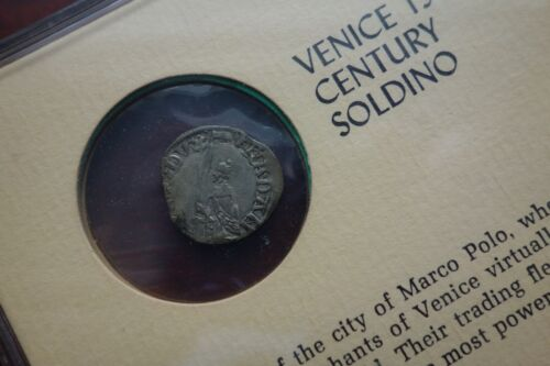 15th Century VENICE Italy Soldino silver coin in sealed holder