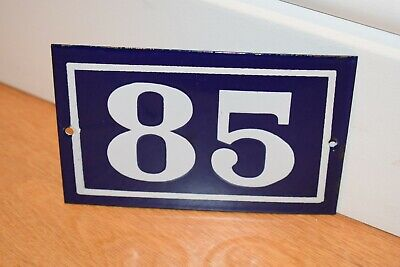 Vintage French Enamel Metal House Sign Number 85 - See Photos