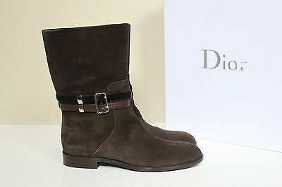 New sz 6 / 36 Christian Dior Brown Suede buckle strapped Logo Boot Shoes