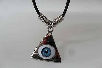 NEW Silver Blue Pyramid Eye Triangle Illuminati Pendant Necklace with Black Cord